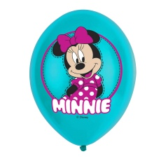 Baloane latex 28 cm inscriptionate Minnie Mouse, policromie, Amscan 9903669, Set 6 buc