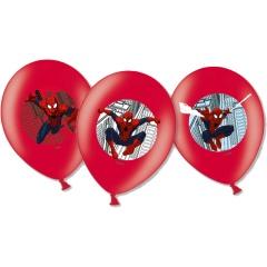 6 Latex Balloons Spiderman 4 Colour, 28 cm, Amscan 999241