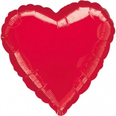 "Metallic  Red Heart Foil Balloon - 18""/45 cm, Amscan 10584, 1 piece"