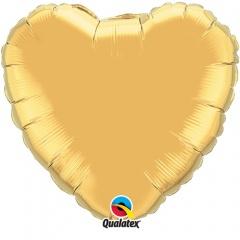 Balon mini folie auriu in forma de inima - 10 cm, umflat + bat si rozeta, Qualatex 36336, 1 buc