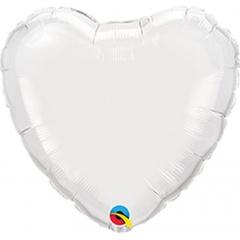 Balon mini folie alb in forma de inima - 10 cm, umflat + bat si rozeta, Qualatex 22846, 1 buc