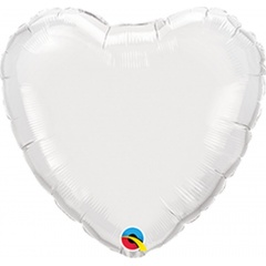 "Metallic White Heart Mini Foil Balloon - 4""/10 cm, Qualatex 22846, 1 piece"