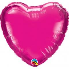 Balon mini folie magenta in forma de inima - 10 cm, umflat + bat si rozeta, Qualatex 99339, 1 buc