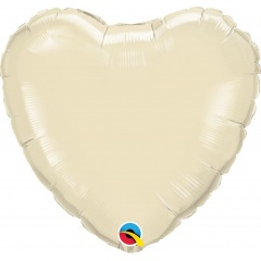 "Metallic Ivory Heart Mini Foil Balloon - 4""/10 cm, Qualatex 27165, 1 piece"