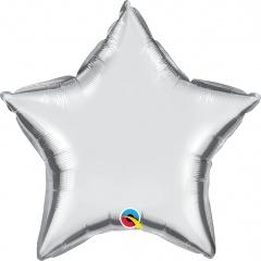 Balon mini folie argintiu in forma de stea - 10 cm, umflat + bat si rozeta, Qualatex 14355, 1 buc