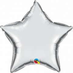"Metallic Sliver Star Mini Foil Balloon - 4""/10 cm, Qualatex 14355, 1 piece"