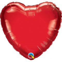 Balon mini folie rosu in forma de inima - 10 cm, umflat + bat si rozeta, Qualatex 23402, 1 buc