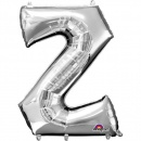 83 cm Silver Letter Z Shaped Foil Balloon, Amscan 32999