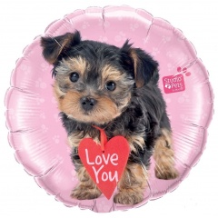 "18""  Love You Terrier Round Foil Balloon, Qualatex 55232"