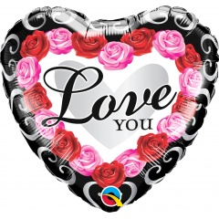 Love You Roses Round Foil Balloon, 45 cm, Qualatex 54858