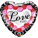 Love You Roses Round Foil Balloon, 45 cm, Qualatex 54858
