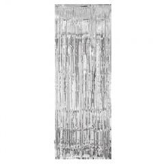 Perdea decorativa din folie metalizata argintie - 240 x 91.4 cm, Amscan 24200-18