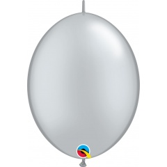 """6"""" Silver Quick Link Balloons, 6 inch (15 cm), Qualatex 90266"""