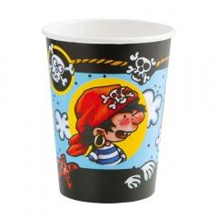 Pahare carton Piraaates! pentru petrecere copii - 266 ml, Amscan 552405, Set 8 buc