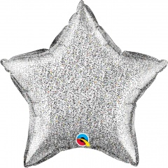 Glittergraphic Silver Star Shaped Foil Balloon - 50 cm, Qualatex 88783
