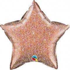Balon folie glitter stea rose gold - 50 cm, Qualatex 88928