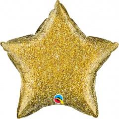 Balon folie glitter stea aurie - 50 cm, Qualatex 88915