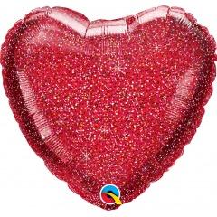 Balon folie glitter inima rosie - 50 cm, Qualatex 88954