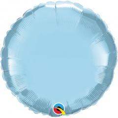 Balon folie pearl light blue metalizat rotund - 45 cm, Qualatex 63745