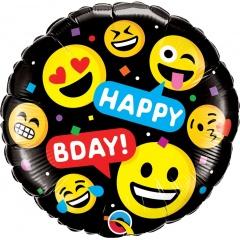 "18"" Emoji Happy Birthday Round Foil Balloon, Qualatex 78718"