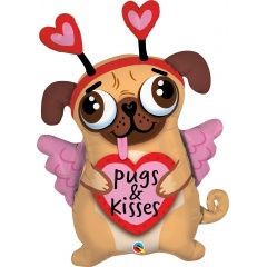 "Balon Folie Figurina Pugs & Kisses 36""/91 cm, Q 78533"
