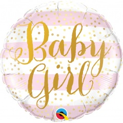 """18"""" Baby Girl Pink Stripes Round Foil Balloon, Qualatex 88004"""