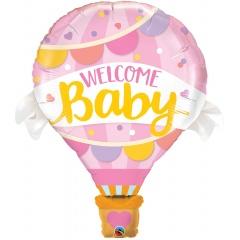 Balon Folie Figurina Welcome Baby Pink Balloon - 106 cm, Qualatex 78656