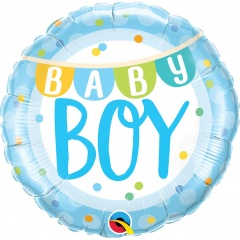 "18"" Baby Boy Banners & Dots Round Foil Balloon, Qualatex 85901"