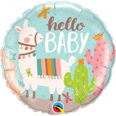 "18"" Hello Baby Llama Round Foil Balloon, Qualatex 78689"