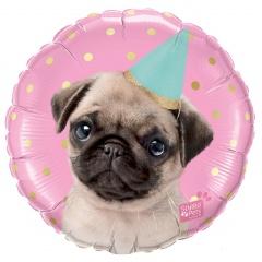 Party Pug, 45 cm Foil Balloon - Qualatex 57617