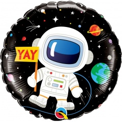 "18"" Birthday Astronaut Round Foil Balloon, Qualatex 88059"