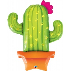 """39"""" Potted Cactus Shaped Foil Balloon, Qualatex 78652"""