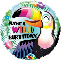 "18"" Have A Wild Happy Birthday Round Foil Balloon, Qualatex 78660"