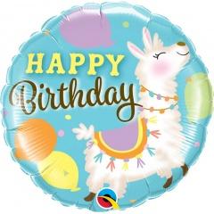 "18"" Birthday Llama Round Foil Balloon, Qualatex 85905"