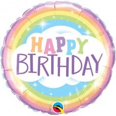 Balon Folie 45 cm Happy Birthday Curcubeu, Qualatex 78658
