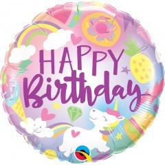 """18"""" Fantastical Fun Birthday Round Foil Balloon, Qualatex 88010"""
