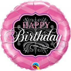 "Balon Folie 45 cm ""Happy Birthday"" Pink & Black, Qualatex 16702"