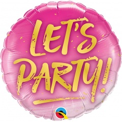 """18"""" Let's Party! Round Foil Balloon, Qualatex 57301"""