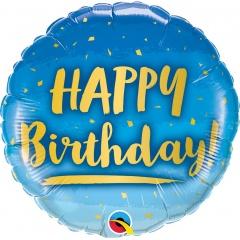 Balon Folie 45 cm Happy Birthday Gold & Blue, Qualatex 78676