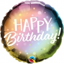 "18"" Birthday Metallic Ombre & Dots Round Foil Balloon, Qualatex 88027"