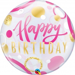 "Balon Bubble 22"" Happy Birthday Buline Roz Si Aurii, Qualatex 87745"