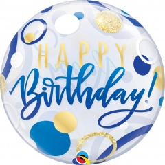 "Balon Bubble 22"" Happy Birthday Buline Bleu Si Aurii, Qualatex 87748"