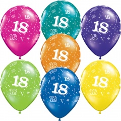 "11"" Printed Latex Balloons, 18-A-Round Assorted, Radar GIC90.18"
