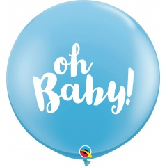 Balon latex Jumbo 3ft inscriptionat Oh Baby! - Pale Blue, Qualatex 85830, 1 buc