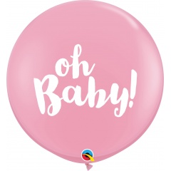 Balon latex Jumbo 3ft inscriptionat Oh Baby! - Pink, Qualatex 85829, 1 buc