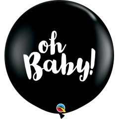 Balon latex Jumbo 3ft inscriptionat Oh Baby! - Onyx Black, Qualatex 85831, 1 buc