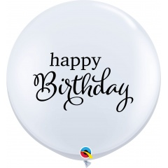 3' Happy Birthday - White Round Latex Balloon, Qualatex 88200, 1 pcs