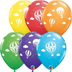 "11"" Hot Air Balloons Printed Latex Balloons, Qualatex 86561"