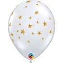 "11"" Diamond Clear Contempo Stars Printed Latex Balloons, Qualatex 88399"