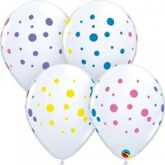 """11"""" Printed Latex Balloons, Colorful Dots, Qualatex 88217"""
